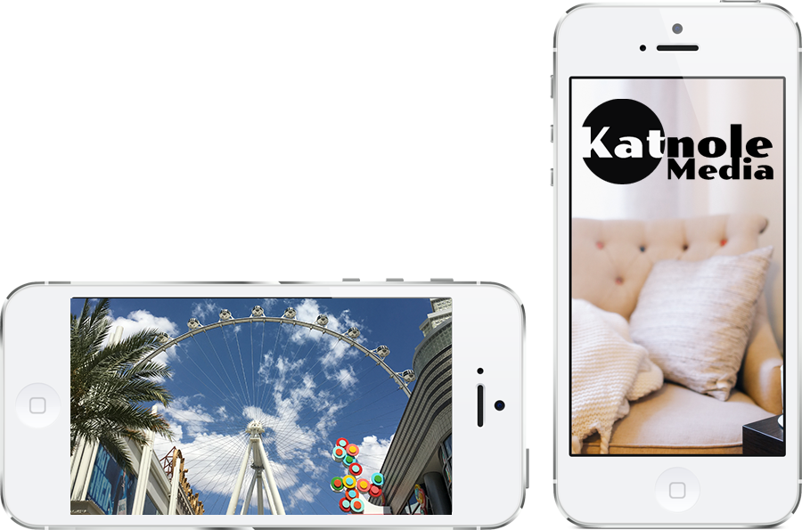 Two iPhones with a ferris wheel and the other with Katnole Media logo
